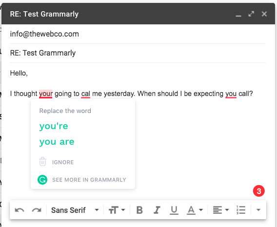 Grammarly Gmail Test