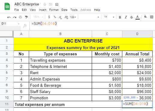 Expense summary statement with Google Sheets