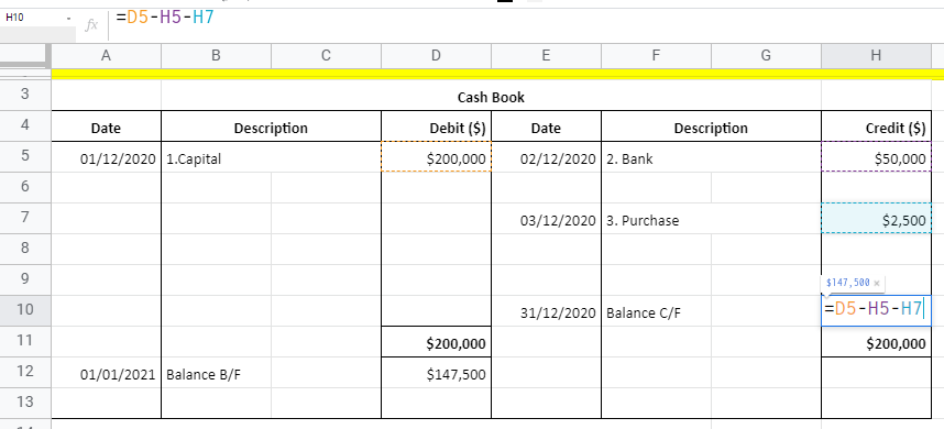Tallying T Accounts with Google Sheets