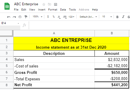 Making Income statement in Google Sheets