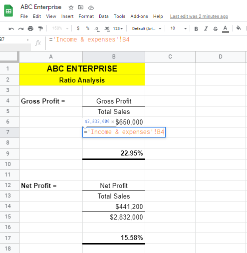 Ratio Analysis with Google Sheets