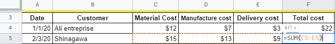 Total cost calculation with Google Sheets