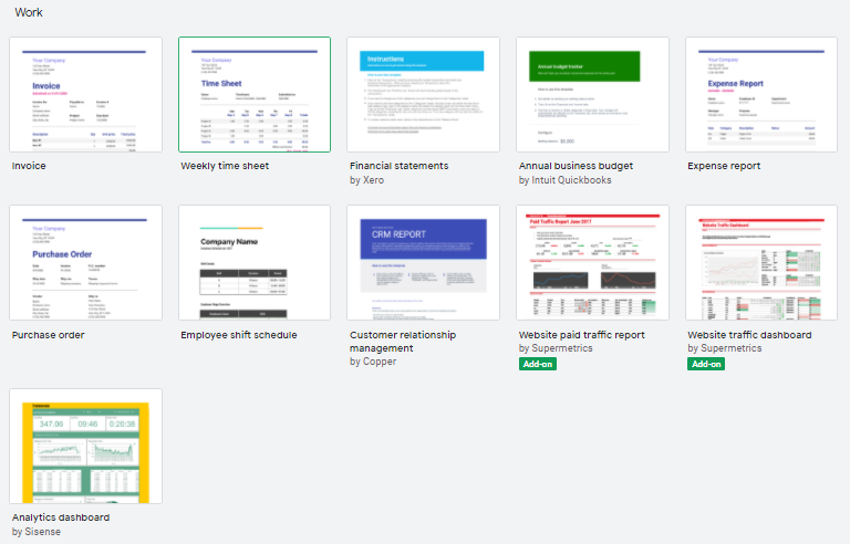 Work templates in Google Sheets