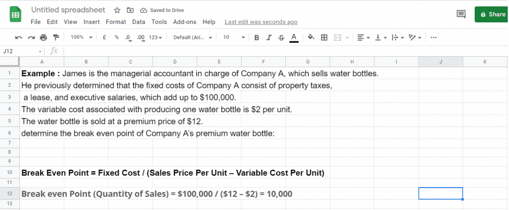 Break Even Point calculation in Google Sheets