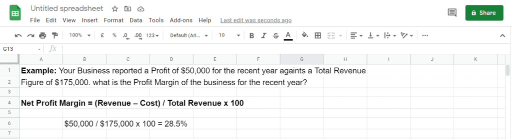 Net Profit Margin calculation with Google Sheets