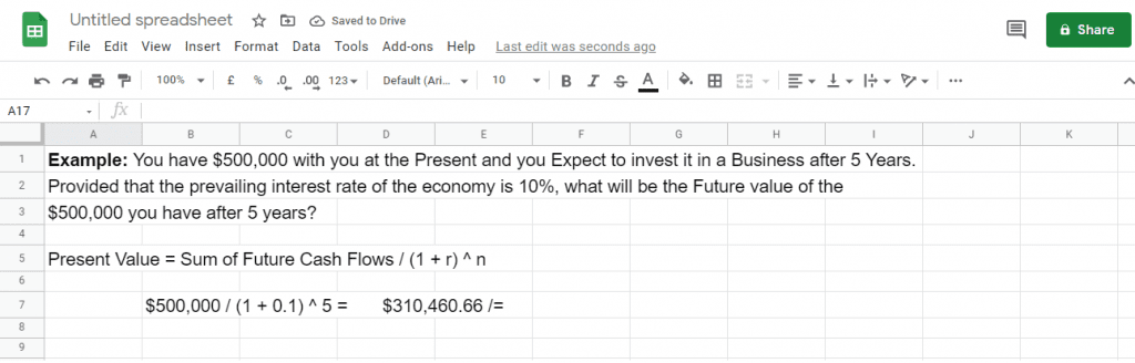 Present Value calculation with Google Sheets